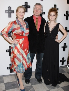 John Patrick Shanley poses with Actress Meryl Streep and Amy Adams at a photocall promoting the new film &#8216;Doubt&#8217; on January 19, 2009 in Paris, France