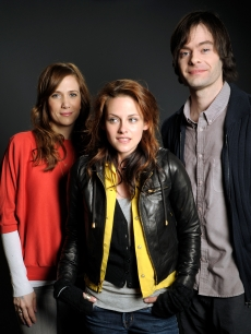 Kristen Wiig, Kristen Stewart and Bill Hader pose at the Hollywood Life House on January 19, 2009 in Park City, Utah