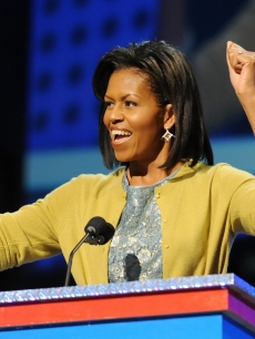Michelle Obama, wife of US President-elect Barack Obama, delivers a speech at the &#039;&#8216;Kids inaugural: We Are The Future&#8217; concert honouring military families