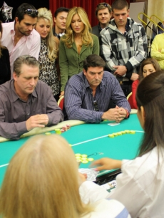 Daniel Baldwin  sits at the final table of Therapeutic Learning Center and Love Across the Ocean celebrity poker tournament at the Commerce Casino in LA.