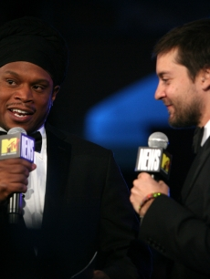 MTV's Sway speaks to Tobey Maguire at the Youth Ball