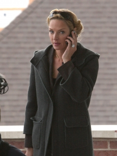 Uma Thurman chats on the phone at Sundance 2009