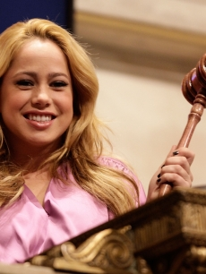 Sabrina Bryan rings the opening bell at the New York Stock Exchange on January 23, 2009 in New York City