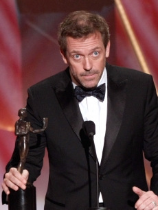Hugh Laurie accepts the Male Actor in a Drama Series award for 'House' during the 15th Annual Screen Actors Guild Awards held at the Shrine Auditorium on January 25, 2009 in Los Angeles, California