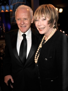 Anthony Hopkins and Shirley MacLaine smile during the SAG Awards