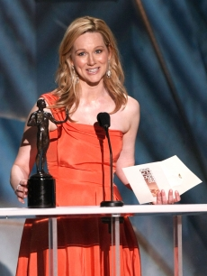 Laura Linney accepts the Female Actor in a TV Movie or Miniseries award for 'John Adams' during the 15th Annual Screen Actors Guild Awards