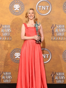 Laura Linney poses with her award for Outstanding Performance by a Female Actor in a Television Movie or Miniseries for 'John Adams' in the press room at the 15th Annual Screen Actors Guild Awards