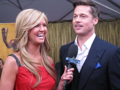 Brad Pitt chats with Nancy O&#8217;Dell on the SAG Awards red carpet