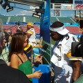 Maria Menounos grills Pittsburgh Steelers QB Byron Leftwich during Super Bowl XLIII Media Day