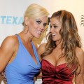 Leather and Laces party hosts Jenny McCarthy and Carmen Electra pose on the red carpet