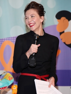 Maggie Gyllenhaal unveils the new Fisher-Price Precious Planet collection at the Central Park Zoo Tuesday morning in New York.