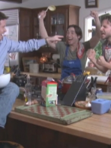Kevin Connolly, Justin Long and Bradley Cooper enact a scene from a typical chick flick