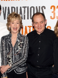 Colin Hanks, Jane Fonda, Zach Grenier and Samantha Mathis attend a photo call for '33 Variations' at the NY Theatre Workshop