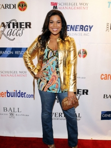 Former 'American Idol' Jordin Sparks hits the Leather & Laces Super Bowl bash