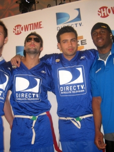 Doug Reinhardt, Brody Jenner, Frankie Delgado and Reggie Bush hit the DirecTV Beach Bowl