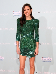 Jennifer Connelly shows off her figure in a sparkly green mini dress