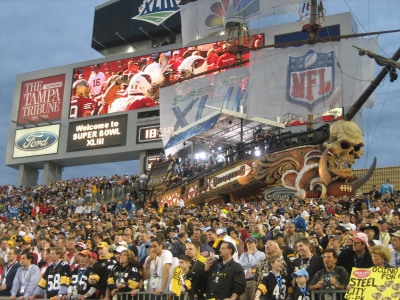 The famous pirate ship inside Raymond James Stadium, where the Tampa Bay Buccaneers call home