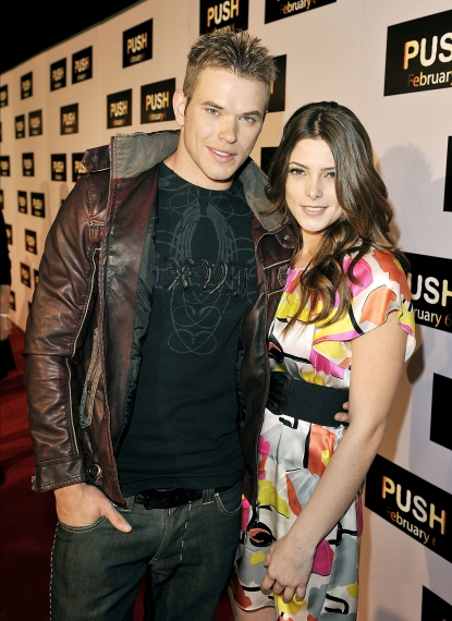 Kellan Lutz and Ashley Greene pose at the premiere of Summit Entertainment&#8217;s &#8216;Push&#8217; at the Mann Village Theater