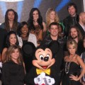 Kelly Clarkson and Carrie Underwood make a Mickey Mouse sandwich outside of the 'American Idol' Experience, Orlando