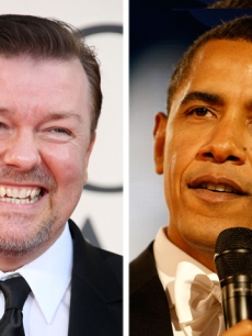 Ricky Gervais and Barack Obama