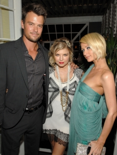Josh Duhamel, singer Fergie and socialite Paris Hilton attend the Vanity Fair and Krug dinner at the Chateau Marmont on February 4, 2009 in West Hollywood