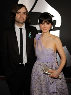 Ben Gibbard (L) and sctress Zooey Deschanel arrive at the 51st Annual Grammy Awards held at the Staples Center on February 8, 2009 in Los Angeles, California.