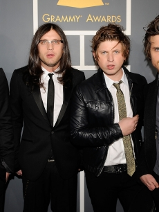 Musicians Caleb, Nathan, Matthew, and Jared Followill from the Kings Of Leon walk the red carpet 