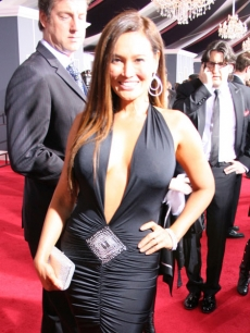 Tia Carrere shows off the dress she bought on eBay for the Grammys