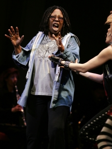 Whoopi Goldberg performs 'Gee, Officer Krupke' during the 2009 Broadway Backwards at the American Airlines Theatre