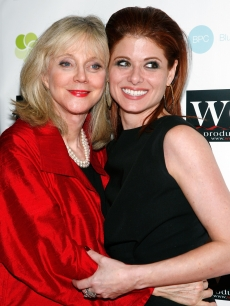 Blythe Danner (L) and Debra Messing (R) attend the LOVE benefit to support WET&#8217;s 10th season at the Angel Orensanz Foundation on February 9, 2009 in New York City