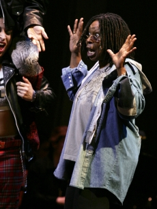Whoopi Goldberg performs 'Gee, Officer Krupke' during the 2009 Broadway Backwards at the American Airlines Theatre on February 9, 2009 in New York City.