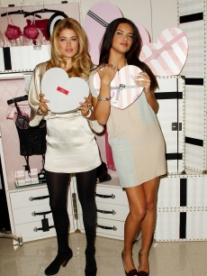 Doutzen Kroes and Adriana Lima attend the unveiling of the New Vintage Victoria Collection just in time for Valentine's Day at Victoria's Secret Lexington Avenue Store on February 11, 2009 in New York Ci