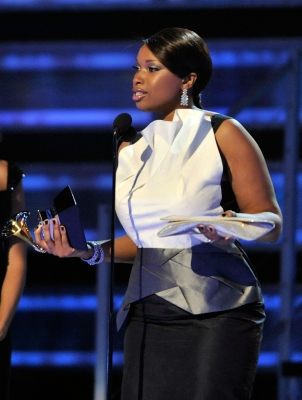 Jennifer Hudson accepts her Grammy award