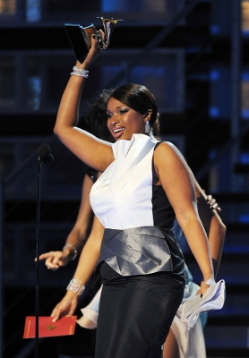 Jennifer Hudson accepts the Grammy for Best R&amp;B Album for &#8216;Jennifer Hudson&#8217;