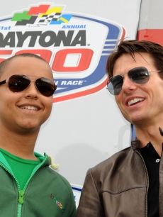 Tom Cruise and his son Connor Cruise attend the Daytona 500 at Daytona International Speedway on February 14, 2009 in Daytona Beach, Florida