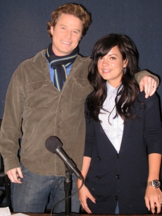 Billy Bush and Lily Allen in &#8216;The Billy Bush Show&#8217; studio, Feb. 16, 2009