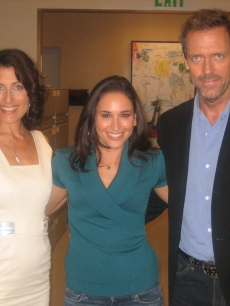 on the set of 'House' with Lisa Edelstein and Hugh Laurie