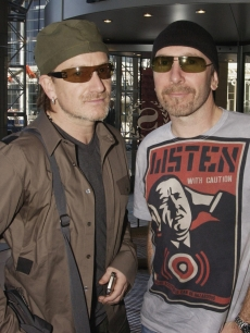 Bono and The Edge of U2 attend The Nelson Mandela Foundation's '46664 Give One minute to Aids' Concert at The Greenpoint Stadium on November 29, 2003 in Cape Town