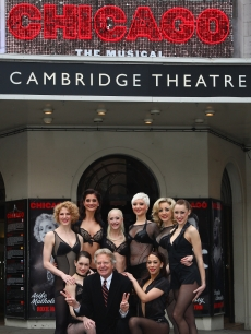 Jerry Springer poses with cast from Chicago at The Cambridge Theatre in  2009. Jerry Springer will be starring in the hit musical playing  Billy Flynn 