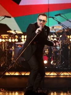U2 frontman Bono rehearses for the Brit Awards on Wednesday, February 18, 2009