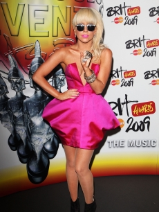 Lady Gaga poses backstage during the Brit Awards 2009 at Earls Court on February 18, 2009 in London, England