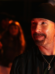 The Edge from U2 arrives at the Brit Awards 2009 at Earls Court on February 18, 2009 in London, England