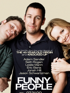Seth Rogen, Adam Sandler and Leslie Mann in the poster for Judd Apatow&#8217;s &#8216;Funny People&#8217;