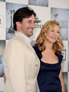 Actors Jon Hamm and Jennifer Westfeldt arrive at the 2009 Film Independent's Spirit Awards held in Santa Monica