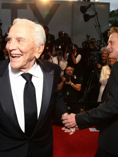 Kirk Douglas and Michael Douglas attend the 2009 Vanity Fair Oscar party hosted by Graydon Carter at the Sunset Tower Hotel on February 22, 2009 in West Hollywood, California