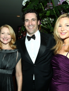 Patricia Clarkson, Jon Hamm, and Jennifer Westfeldt attend the 2009 Vanity Fair Oscar party hosted by Graydon Carter at the Sunset Tower Hotel on February 22, 2009 in West Hollywood, California