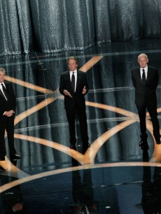 Adrien Brody, Robert De Niro, Michael Douglas, Sir Anthony Hopkins and Sir Ben Kingsley present the award for Best Supporting Actor at the 2009 Academy Awards