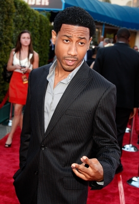 Brandon T. Jackson arrives on the red carpet of the Los Angeles Premiere of 'Tropic Thunder' at the Mann's Village Theater on August 11, 2008 in Los Angeles