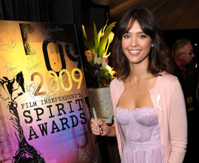 Stars such as Jessica Alba stopped by the Official Gift Lounge backstage at Film Independent's Spirit Awards, the day before the Oscars