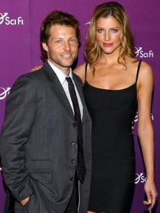 Jamie Bamber and Tricia Helfer attend the Sci Fi Channel 2008 Upfront Party at The Morgan Library & Museum on March 18, 2008 in New York City